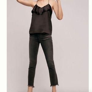 Pilcro Parallel Mid-Rise Raw Step Hem Gray Jeans